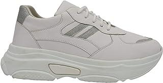 Glitter Chunky-Sole Glitter-Stripe Low-Top Lace-Up Sneakers for Women