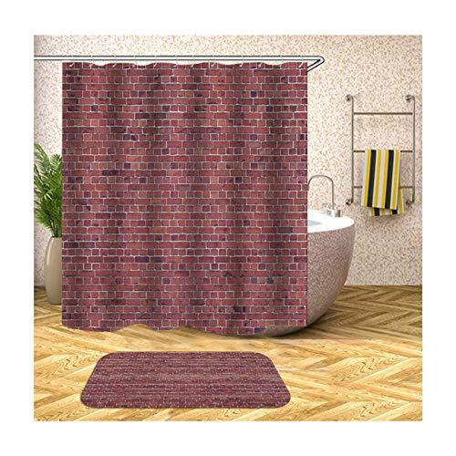 AmDxD Duschvorhang Badezimmerteppiche Set aus Polyester  3D-Druck Ziegelwand Muster Design Badvorleger Bad Vorhang   Bunt   mit 12 Duschvorhangringen für Badewanne Badezimmer - 165x180CM