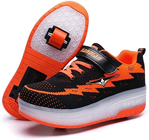 LED Chaussures à roulettes de Skateboard 7 Couleurs Clignotante Chaussure de Sport avec Rouleau Multisports USB Outdoor Athlétisme Gymnastique Running Sneaker Automatiques Rétractables Baskets Mode