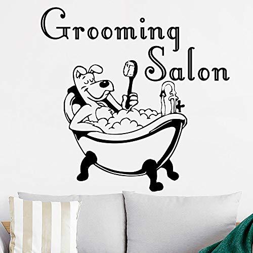 Salón de belleza logo etiqueta de la pared bañera perro de dibujos animados mascota cachorro tienda de mascotas decoración de interiores puerta ventana vinilo adhesivo arte mural