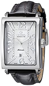 Gevril Men's 5000A 'Avenue of America' Stainless Steel Automatic Watch with Brown Leather Strap image