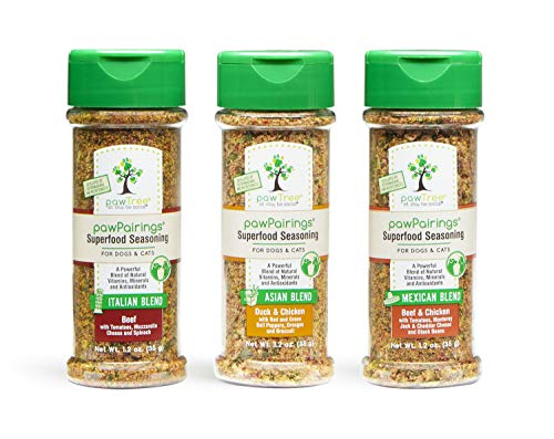 pawTree pawPairings Superfood Seasonings Healthy Food Topper & Flavor Enhancer for Any Dog or Cat Food. Spices Contain A Freeze-Dried Meat Protein, 8 Superfoods, Vitamins & Minerals. Made in The USA