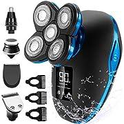 Glatzen Rasierer Herren OriHea TwinShaver Rasierer LED-Display Präzisionstrimmer Bartschneider Nass &Trockenrasierer IPX7 Wasserdicht, 5 IN 1 Rotationsrasierer kopfrasierer herren elektrisch-Blau
