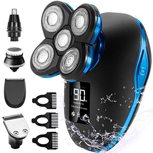 Glatzen Rasierer Herren, OriHea Rasierer LED - Display Präzisionstrimmer Bartschneider Nass&Trockenrasierer IPX7 Wasserdicht, 5 IN 1 Rotationsrasierer kopfrasierer herren elektrisch - Blau