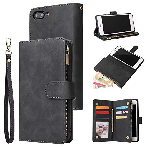 UEEBAI Wallet Case for iPhone 6 Plus iPhone 6S Plus, Premium Vintage PU Leather Magnetic Closure Handbag Zipper Pocket Case Kickstand Card Holder Slots with Wrist Strap TPU Shockproof Flip Cover-Black