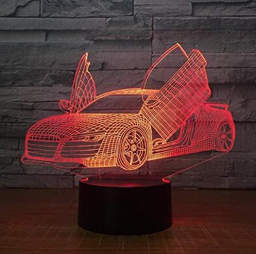 JJIEZZ Lámpara del Interruptor del Tacto del USB de la Forma del Tractor del Coche del Motor de la luz de la decoración 3D 7 Luz Colorida de la Noche-Coche 8_Cambio de 7 Colores