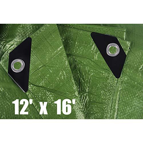 Hanjet 12' x 16' Tarp 5-mil Thick Camping Tent Rain Tarps Green