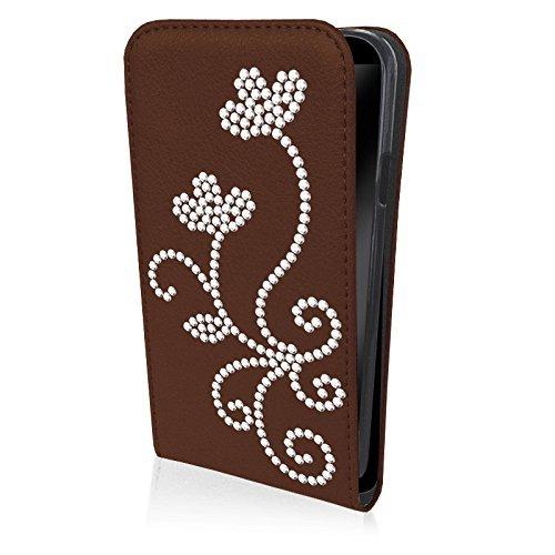 eSPee LG2mR027 Carcasa Funda con Tapa con diseño de Flores de Silicona y Cierre magnético para Mini LG G2 D620 marrón