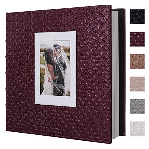 RECUTMS 60 Pages Picture Album Self Adhesive 4x6 5x7 8x10 Leather Cover DIY Magnetic Scrapbook Album Suitable Wedding Photo Album Baby Picture Book Family Scrapbook Photo Album (Red Wine)