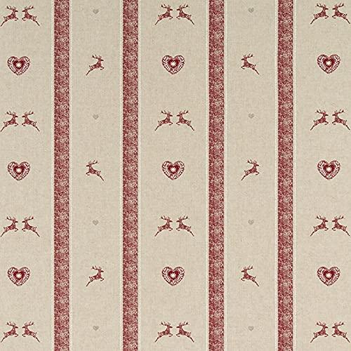 Hans-Textil-Shop Tela por metros con diseño de ciervos y corazones impresos, para casa rural, invierno, decoración, mantel, niños, costura, manualidades