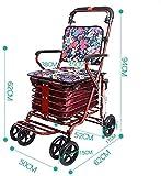 Dongyd El peso ligero va arriba plegable carro de la compra del carro de la compra de la carretilla de los ancianos con la carretilla del taburete con el remolque pequeño del asiento