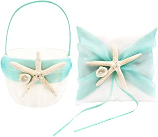 Abbie Home Organza Bowknot Wedding Ring Pillow + Flower Basket Set Romantic Beach Wedding Party Favor (Turquoise)