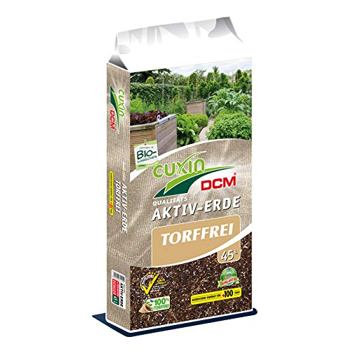 Cuxin Torffreie Bio Blumenerde 45 L⎜Bioerde mit Perlite und 100 Tage organischen Dünger ✅+Bodenanalyse-Gutschein