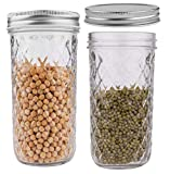 STAR WORK - 350 ml Mason Jars with Lids Canning Jars Wide Mouth, Mason Jar Cup for Jam, Honey, Baby Foods, Craft and Dry Food Storage Pack of (2)