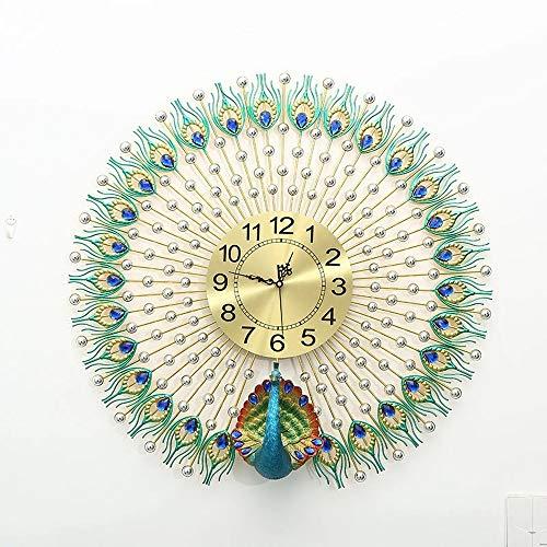 WHSS Reloj de pared con diseño de pavo real tridimensional, diseño de pavo real, para decoración de hotel, sala de estar, reloj electrónico, decoración de mudo, gráficos de pared (color plateado)