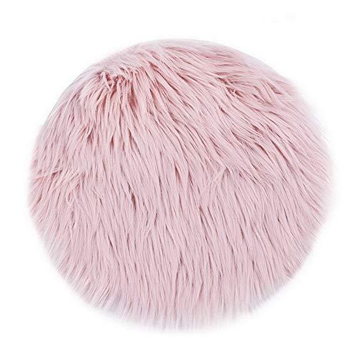 LJXX Teppich Neue Weiche Kunstpelz Wollteppich Wohnzimmer Sofa Plüsch Schlafzimmer Bettwäsche Runde Bodenmatte 30X30 cm rosa