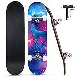 SGODD Completo Skateboard para Principiantes,80x20cm Monopatín Skateboard,31''Skateboard 7Capas Monopatín de Madera de Arce Canadiense,con Rodamiento ABEC-7 y Rueda de 95 A para Niña,Niño,Adulto(Azul)