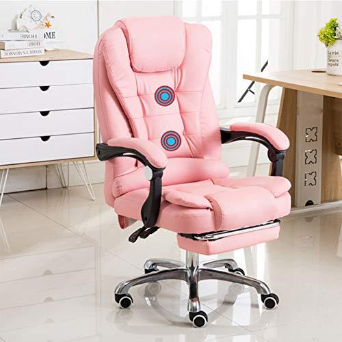 RNNTK Leather Ergonomic Household Office Chair, Massage Reclining Desk Chair Lumbar Support,High Back Executive Swivel Desk Chair Retractable Footrest Pink