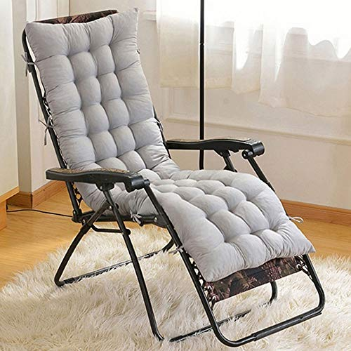Gulin Lounger Cushion, Thick Pad Soft Non-Slip Large Jumbo Rocking Chair Cushion Large Chair Pad for Holiday Relaxer Patio Garden Outdoor 18.9'x47.2'x1.97' Gray
