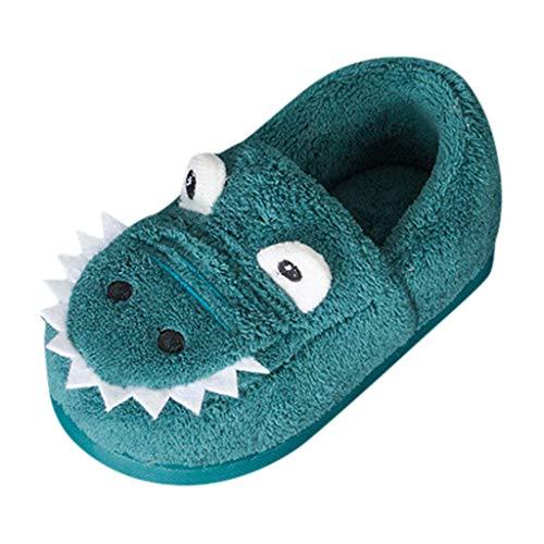 FeiliandaJJ Kinder Mädchen Jungen Winter Hausschuhe,Kinder Baby 3D Cartoon Krokodil Baumwolle Pantoffeln Warm rutschfeste Schlappen Indoor Outdoor Slippers (25 EU, Blau)