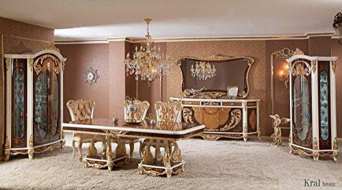Klassisch luxuriöses Esszimmer set – KRAL BRONZE (1 Esstisch, 6 Esszimmerstühle, 1 Vitrine, 1 Schrank, 1 Spiegel). Farbkombination: Braun, Gold, Weiß. Classical luxury diningroom set.