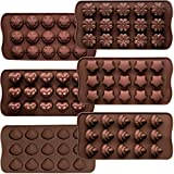 CNYMANY - 6 moldes de silicona flexible para dulces, moldes antiadherentes para cocina, bandejas para cubitos de hielo, 6 formas, color chocolate