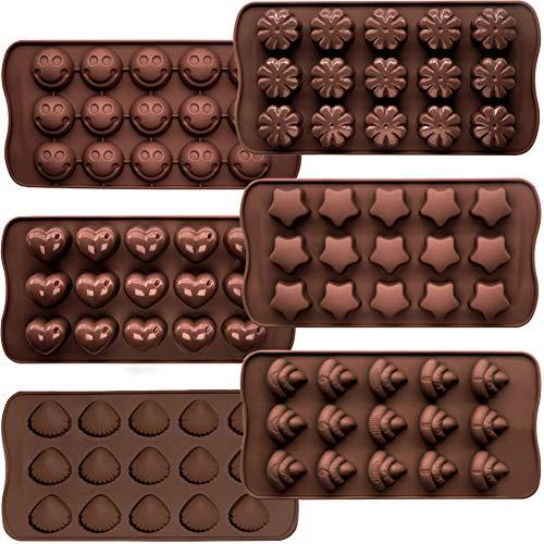 6 Packungen Silikon Fondant Kuchen Formen Pralinenformen, CNYMANY Antihaft Küche Backformen Eiswürfelschalen für die Herstellung von Süßigkeiten Schokolade Muffin Cupcake
