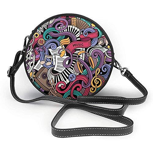 TURFED Hombro con césped PU bolso redondo Doodle de la música temática Hand Drawn Abstract Instrumentos Micrófono tambores teclado Stradivarius monedero individual