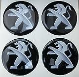 Lot de 4 stickers en résine effet 3D avec adhésif 3M pour enjoliveurs / jantes en alliage - 60 mm - tuning - noir