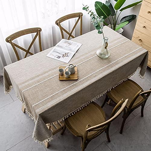 Mantel de Lino Decorativo sólido Irregular con Borla espesante a Prueba de Polvo Mesa Rectangular de Boda Mesa de Centro F140x180cm