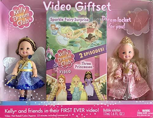 Barbie Kelly Dream Club - Juego de regalo con muñeca princesa Kelly, muñeca Chelsie de hada zafiro, 2 episodios, medallón de tamaño infantil con solución de burbujas y más (2002)