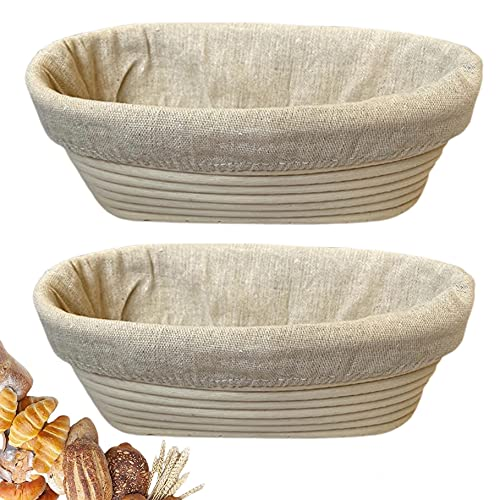 10 Inch Oval Bread Banneton Proofing Basket Set of 2 – Bread Baking Kit Sourdough Proofing Basket for Artisanal Bread – Bread Making Tools For Professional & Home Bakers (10 inch oval- 2 pack)