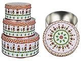 pille gartenwelt Set di 3 contenitori per biscotti in metallo, motivo natalizio, adatti per alimenti, 14, 17 e 20 cm di diametro, 4 diversi motivi e colori