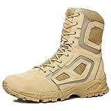 NDHSH Botas de Desierto para Hombre Zapatos de caña Alta Botas Militares Botas de Senderismo Botas Transpirables con Cordones Botas Todo Terreno Zapatos de Trekking,Beige-43