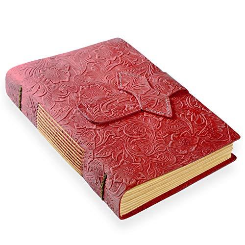 ScrodCat Ledertagebuch, A5-Notizbuch, antik, handgefertigt, ledergebunden, für tägliche Notizen, mit Blanko-Seiten, 20 x 15 cm, Geschenk, Reisetagebuch (Red, A5/20x15cm)