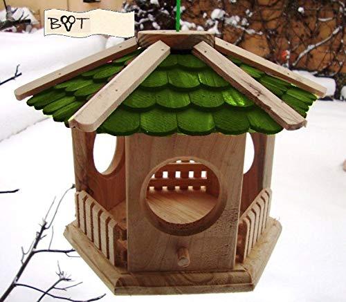 Vogelhaus -Holz Nistkästen & Vogelhäuser- Futterhaus groß aus Holz, Design Vogelhäuschen Holz grün grüne Holzschindeln S25gr