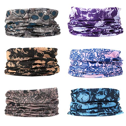 EAZZEA 6pcs Magic Wide Tube Face Mask,Neck Gaiter, Headwear, Sports Scarf, Skeleton Bandana, Balaclava, Headband for Women And Men