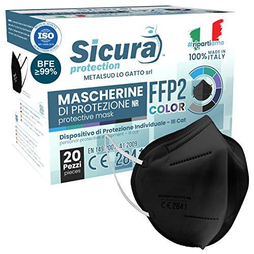 20x FFP2 Maske Farbe Schwarz CE Zertifiziert Filterklasse BFE ≥99% FFP2 Masken SANITIZIERTE Einzeln versiegelte ISO 13485 Medizinprodukte Atemschutzmaske CE Hergestellt verpackt in Italien