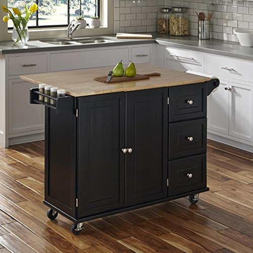 Home Styles Liberty Kitchen Cart with Wood Top - Black