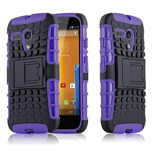 Preisvergleich Produktbild Cadorabo Hülle für Motorola G-DVX - Hülle in SCHWARZ LILA Handyhülle mit Standfunktion - Hard Case TPU Silikon Schutzhülle für Hybrid Cover im Outdoor Heavy Duty Design