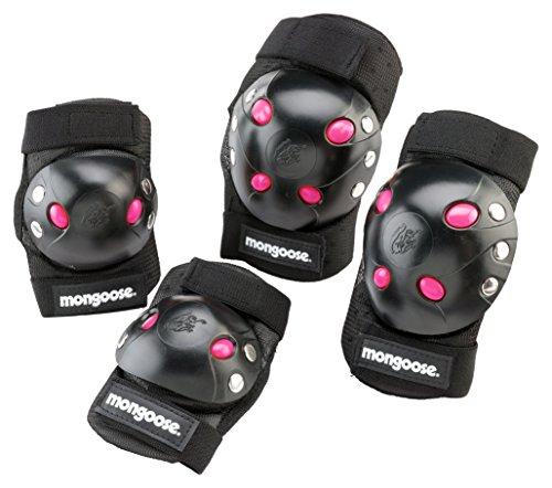 Schwinn Mongoose Youth BMX Bike Gel Knee and Elbow Pad Set, Multi-Sport Protective Gear, Black/Pink