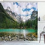 ABAKUHAUS Paisaje Cortina de Baño, Canadá Lago Ohara Wiev, Material Resistente al Agua Durable Estampa Digital, 175 x 240 cm, Multicolor