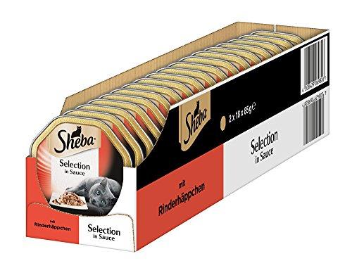 Sheba Katzenfutter Selection in Sauce für ausgewachsene Katzen - hochwertiges Nassfutter für Katzen / Rinderhäppchen in Sauce / 36 Schalen (36 x 85 g)