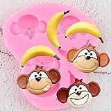 FGHHT Moldes de Silicona de Mono de Dibujos Animados Bananacumpleaños Cupcake Topper Fondant Herramientas de decoración de Pasteles Dulces Chocolate Gumpaste moldes