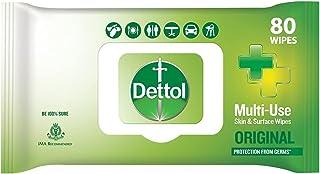Dettol Disinfectant Sanitizer Wet Wipes for Skin & Surfaces , Original – 80 Count| Moisture-Lock Lid | Safe on Skin | Idea...