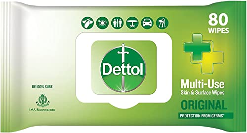 Dettol Disinfectant Sanitizer Wet Wipes for Skin Surfaces Original 80 Count Moisture Lock Lid Safe on Skin Ideal to Clean Surfaces