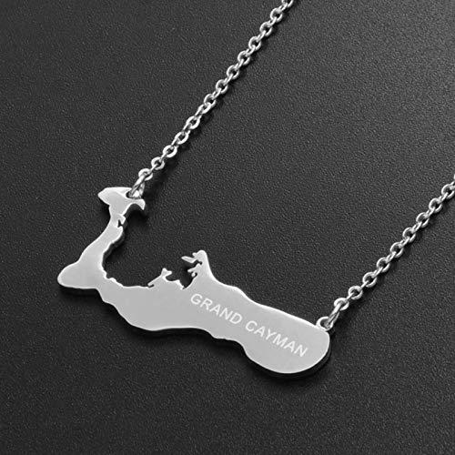 Karte Halsketten,Cayman Inseln Karte Anhänger Halskette, Unisex Mode Ethnischen Charme Anhänger Kette Schmuck, Männer Frauen Personalisierte Kleidung Zubehör