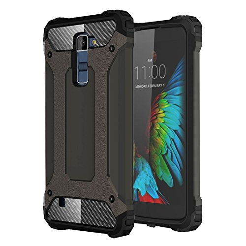 ZHENGYAQI-PHONE CASE Funda de teléfono for LG K10 Tough Armor TPU + PC Funda a Prueba de Golpes Estuche Protector (Color : Coffee)