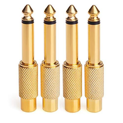 Adaptador de RCA phono a jack, NANYI- RCA Hembra A 6.35mm 1/4 pulgada Macho TS Interconector Adaptador de conversión de audio Adaptador Adaptador chapado en oro - Paquete de 4