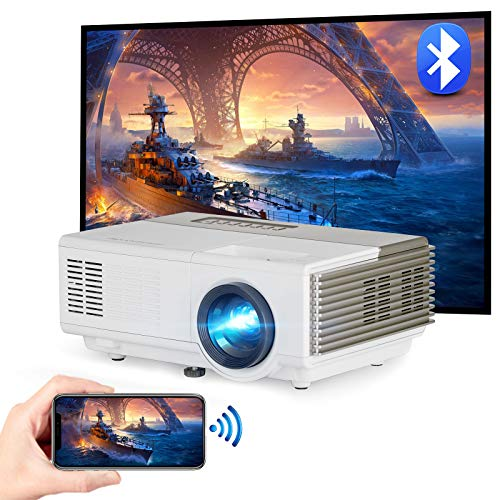 Mini WiFi Bluetooth Portable Projector Wireless Outdoor Movie Full HD 1080P Supported Home Theater Sync Screen Airplay Gaming Video Projector for iPhone Android TV Stick Laptop PS5 Wii DVD HDMI USB